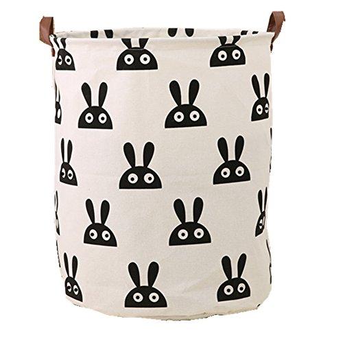 CHICIEVE Klappbar Groß Zylindrische Niedlichen Muster Baumwolle Leinen Wäschekorb,Organizer für Kid 's Room Spielzeug Aufbewahrung (40 cm x 50 cm) hase