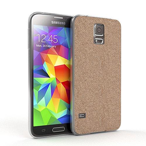 Samsung Galaxy S5 / S5 Neo Hülle - EAZY CASE Handyhülle - Ultra Slim Glitzer Schutzhülle aus Silikon in Pink Glitzer Champagner