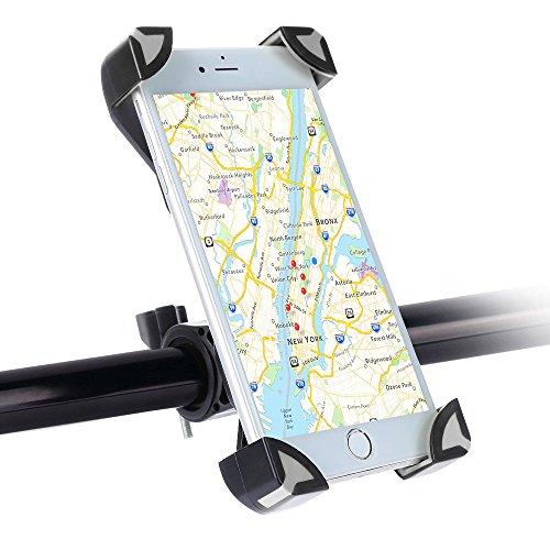 Handyhalterung Fahrrad, SKYEE Universal Fahrradhalterung Einklemmen an den vier Ecken mit 360 Grad drehbare Fahrrad Verstellbar Motorrad Lenker Handyhalter Halter für iPhone 7/7 Plus/6/6S/5S, Samsung S8/S7 und Andere GPS Geräte - Grau/Schwarz