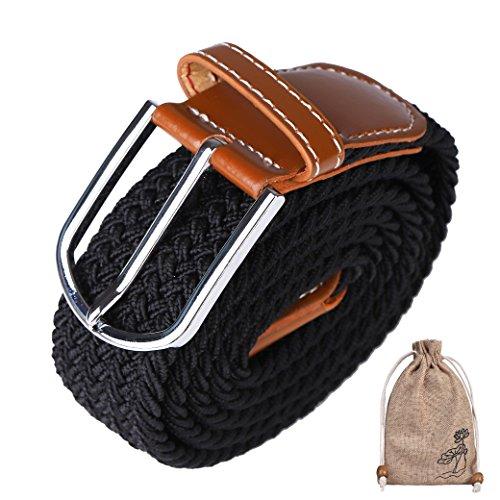 Cinturón Trenzado, Elástico Trenzado Tamaño Ajustable con Hebilla de Aguja de Metal Embalado en Bolsa de Lino para Jeans Pantalones Cortos Chinos Ropa Casual Negra Azul /Marino