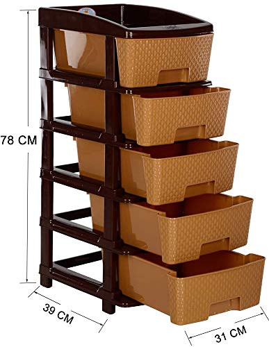 Nakoda Magnum 5 Tier Plastic Containers Organisers Drawers for Storage (Bamboo)