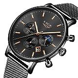 LIGE Hommes Montre de Sport étanche analogique Quartz Montre Moda Casual Classique Noire Date Montres Bracelet