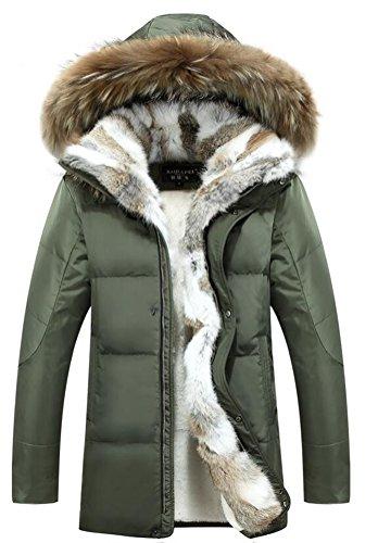 Brinny Hommes Manteau de 90% duvet vers le bas vers le bas veste fausse fourrure parka à capuche longue de luxe Veste en fourrure Rex Fur Collar Grün
