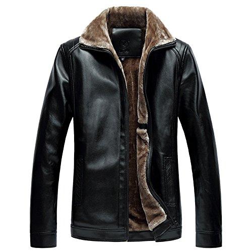 YCMDM pelliccia del rivestimento di cuoio del risvolto più velluto Uomini Calore cappotto semplice Autunno Inverno L Xl 3xl M Xxl 4XL 5XL Nero Marrone , black , 4xl