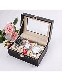 Revesun expositor caja de reloj 3relojes negro estuche de almacenamiento caja de reloj cuero