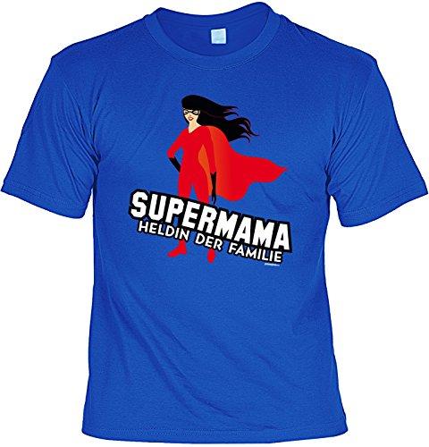 Mama-Shirt/Sprüche-Shirt/Mütter/Spaß-Shirt/Fun-Shirt: Supermama Heldin der Familie geniales Geschenk Royalblau