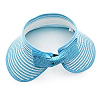LA HAUTE Children Beach Hat Sun Visor Foldable Roll up Wide Brim Straw Hat Kids Cap (Sky Blue)