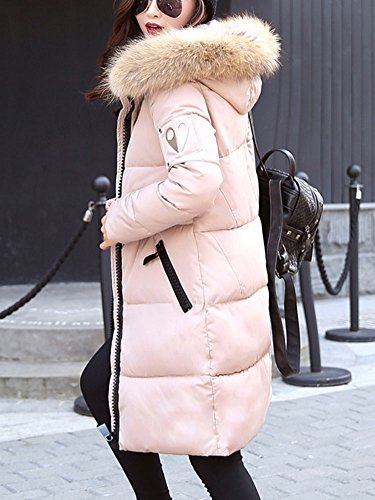 LaoZan Damen Wintermantel Steppjacke Langer Mantel Parka Steppjacke Wintermantel mit Kunst-Fell Kapuze Khaki