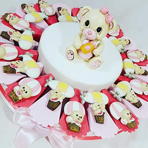 Sindy bomboniere torta bomboniera orsetto assortito spedizione inclusa bimba battesimo nascita sb(torta da 20 fette)