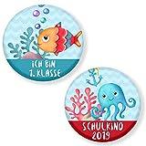 Polarkind 2 Set Button Pin Anstecker Meer Schulkind 2019 Geschenk zum Schulanfang für Schultüte Zuckertüte 59mm Handmade Unisex