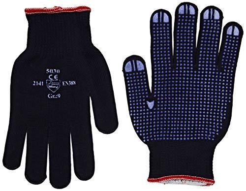 Jah 5030 Baumwolle/Polyester Strickhandschuh 12 Paar Noppen mittelschwer,blau, Gr. 9