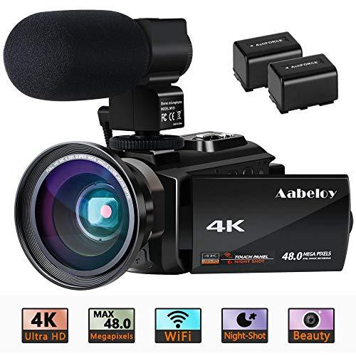 Videocamera 4K videoregistrazione Ultra HD WiFi digitale 48.0 MP Visore notturno da 3,0 pollici Touch Screen Registratore digitale zoom 16X con microfono esterno e obiettivo grandangolare, 2 batterie