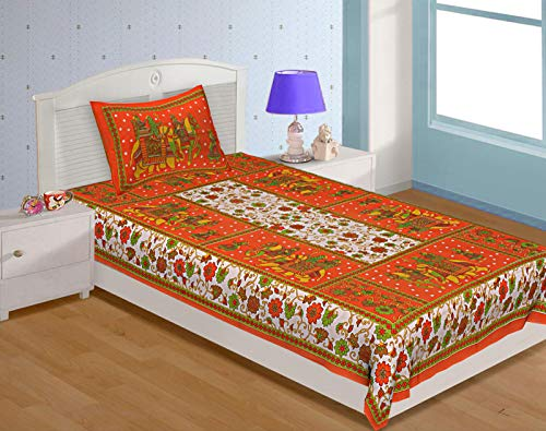 UNIBLISS 100% Cotton Rajasthani Jaipuri Traditional Single Bed Sheet with One Pillow Cover - Orange