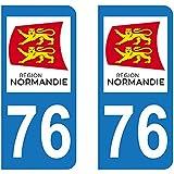 Autocollant immatriculation 76 - Nouvelle région Normandie