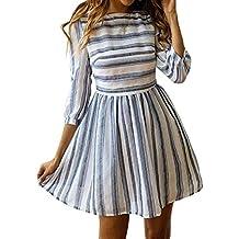 a96251fa2f2 ECOWISH Damen Kleider A-Linie Gestreift Sommerkleid 3 4 Ärmel Rundhals  Plissee Kleid Casual