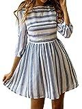ECOWISH Damen Kleider A-Linie Gestreift Sommerkleid 3/4 Ärmel Rundhals Plissee Kleid Casual Mini Strandkleid Navy Blau S
