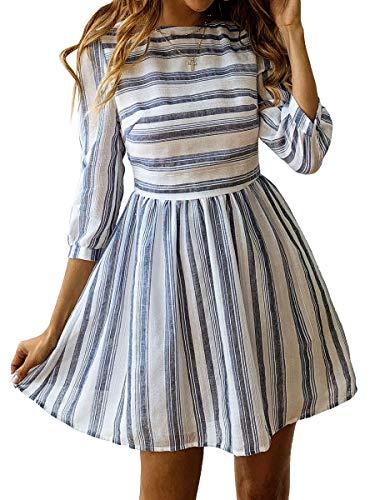 r A-Linie Gestreift Sommerkleid 3/4 Ärmel Rundhals Plissee Kleid Casual Mini Strandkleid Navy Blau M ()