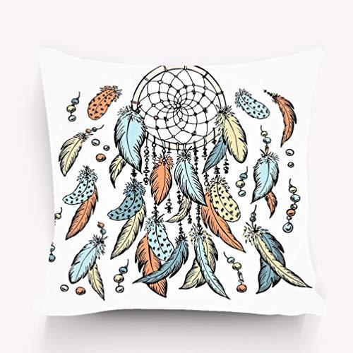 Yuerb - Funda de cojín con Dibujo de atrapasueños Dibujado a Mano y Dibujado a Mano, diseño de espiritualidad astrología, Colorida, Decorativa, Cuadrada, 45,7 x 45,7 cm