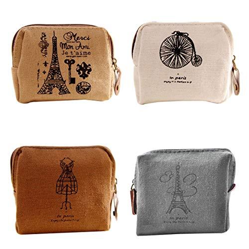 4 stücke Frauen Vintage Leinwand Geldbörse Tragbare Münztüte Mini Brieftasche für Frauen Mädchen