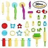 30er Set Modelliermasse Zubehör für Kinder-Knete & Knetmasse – Kinder-Spielzeug & Knet-Werkzeug mit Teigrädchen, Ausstechformen & farbigen Formen – in verschiedenen Förmchen und Farben - Kinderknete