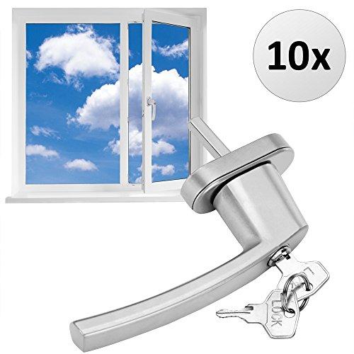 Fenstergriffe abschließbar 10x aus Aluminium silber inkl. Schlüssel - Fenstersicherheitsgriff abschließbarer Fenstergriff Kindersicherung - Farbauswahl/Mengenauswahl 【Gleiche Schlüssel】