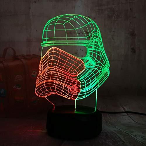 Yedengzhijia Kinder 3D Illusion Farbe Verschiebung Krieger Nachtlicht Touch Button Mädchen Weihnachten Halloween Geburtstagsgeschenk