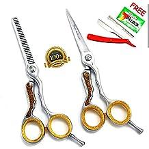 Neuf! Set professionnel coiffeur 13,9 cm ciseaux et couper avec rasoir mince - Professionnels de coiffure Ciseaux cheveux pour couper les cheveux - Amincissement Ciseaux Set - 5,5 pouces + Barber Salon Razor