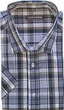 Jack Gordon Herren Hemd, Kurzarm, Kentkragen, Karo-groß, Blau/Braun, 8105, Gr. XL 43/44