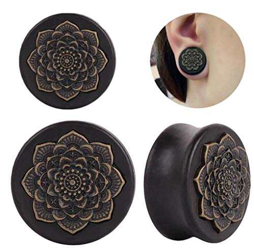 ANLW Gauges Kit Tapers Plugs, Tapers Tunnels Plugs, Stretching Set Style, Tapers Plugst, 2Pcs Wood Mandala Flower Ear Expansion Earplug Puncture,14Mm