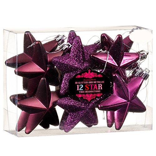 Christmas presents new 12palline di decorazioni per albero di natale 3d glitter & metallic star–viola