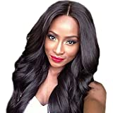 Phenovo Artificial Natural Look Realistic Black Long Curly Wave Middle Parting Synthetic Hair Full Wig with Cap Women Cosmetic Beauty Supplies