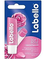 Labello Soft Rosé / Lippenpflegestift mit Farbe im 3er-Pack (3 x 4,8 g) / Lippenschutz gegen trockene Lippen / Lippenpflege spendet Feuchtigkeit und verleiht zartrosanen Glanz