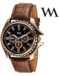 Watch Me Black Dial Brown Leather Strap Watch For Men And Boys AWC-004