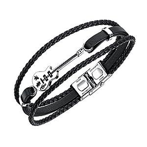 Fate Love Schmuckaus Leder geflochtenes Armband im Lagenlook für Männer, Gitarre/Pfeil Armband mit Sicherheitsverschluss aus Edelstahl, 19cm
