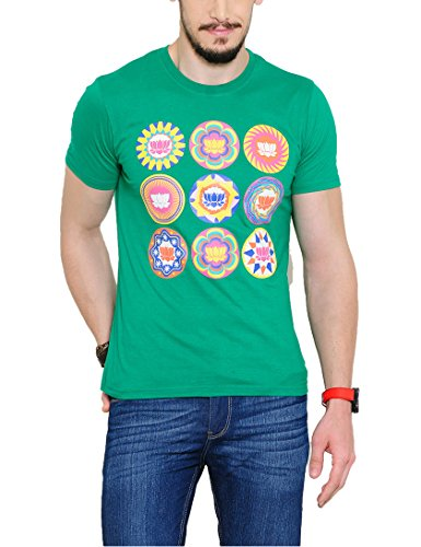 Yepme Men's Green Graphic T-shirt -YPMTEES0246_M  available at amazon for Rs.179