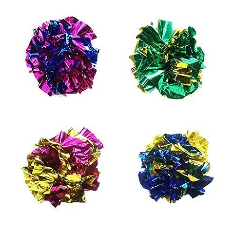 zaCrinkle Katzen Spielball 4er Pack - Ø 3cm   das beliebte Katzenspielzeug   Knisterball – Pompom Ball – Raschelball – Glitterball   Spielzeug für Katzen   knistert – raschelt –