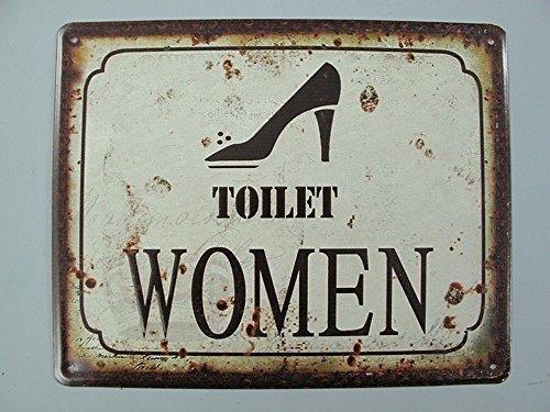 linoows Nostalgie Blechschild, Toilet Women, Frauentoilette, 20x25
