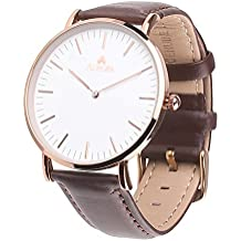 Aurora Damen-Armbanduhr Analog Quarz Braun elegant Quarzuhr Uhr modisch Wasserdicht