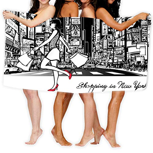 980 uiyp Bath Towel Beach Towel Shopping Times Square New York Night All ads Imaginary Painting 31 * 51 inch