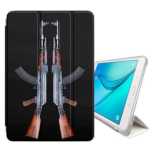 Graphic4You AK47 AK-47 Maschinengewehr Sturmgewehr Design Smart cover Hülle Dünn Tri-Fold Schlank Superleicht Ständer Cover Schutzhülle Tasche für Samsung Galaxy Tab S2 - 9.7