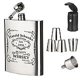7-tlg. Edelstahl Flachmann Geschenk-Set mit Gravur - Schnapsflasche 210ml mit Trichter und 4 Becher - zum Geburtstag - Motiv Quality Whiskey
