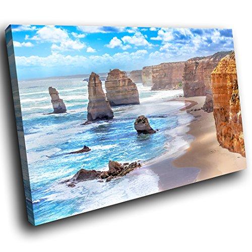 SC537GSC gerahmte Leinwanddruck Bunte Wand-Kunst - Blau Orange Beach Cliffs Natur - Moderne Scenic Wohnzimmer Schlafzimmer Stück Wohnkultur Interior Design Einfach Hang Guide (60X40CM) (Cliff Blumen)
