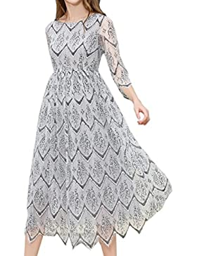 HJMTRY Ms Seven Minute Manga Lace Middles largo vestido de cremallera , light gray , s