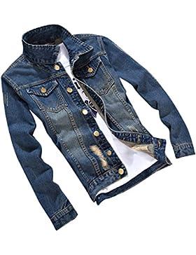 Hombre Outwears Vaquera Manga Larga Denim Jacket Slim Fit Chaqueta De Mezclilla