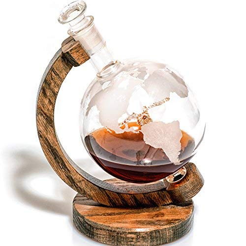 Geätzt Globe Whisky Dekanter (4 Designs zur Auswahl) - 1000 ml bleifreies Glas Whiskey Dekanter für Scotch, Bourbon Rum, Wein oder Whisky 34oz by Prestige Karaffen... 1000 ml Mallard Scotch Dekanter