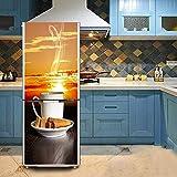 WOLONG 3D Wandaufkleber Tapete Aufkleber PVC für Küche Kühlschrank Kaffee und Snacks Malerei Hintergrund Selbstklebende DIY Wasserdichte Decor Wandbild Kunst Aufkleber Home Dekoration,60cm*150cm
