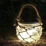 Epyz Solar Lantern Outdoor Hanging 20 led Jar Light Waterproof Crack Glass with Rope Globe Garden Light for Party Christmas D