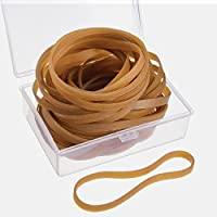 60 Pieces Rubber Bands 100 mm by 5 mm with Storage Box for Office Home School Supplies, Dark Yellow