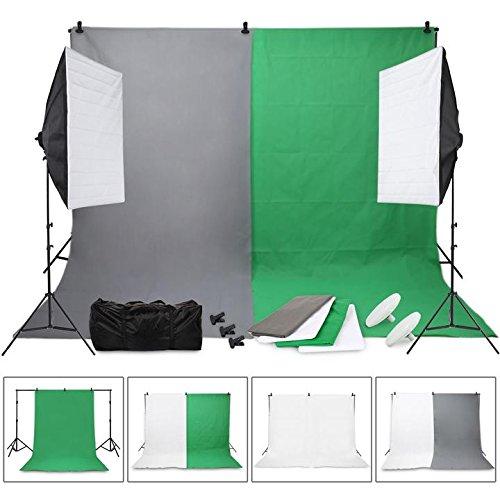 fotostudio hintergrundstoff OUBO Profi Fotostudio Set Hintergrundsystem inkl. 4X Hintergrundstoff LED Studioleuchte 18W Fotolampe Softbox Lampenstativ Tragetasche …