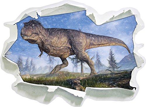 T-Rex Dinosaurier in der Natur Kunst Buntstift Effekt, Papier 3D-Wandsticker Format: 92x67 cm...